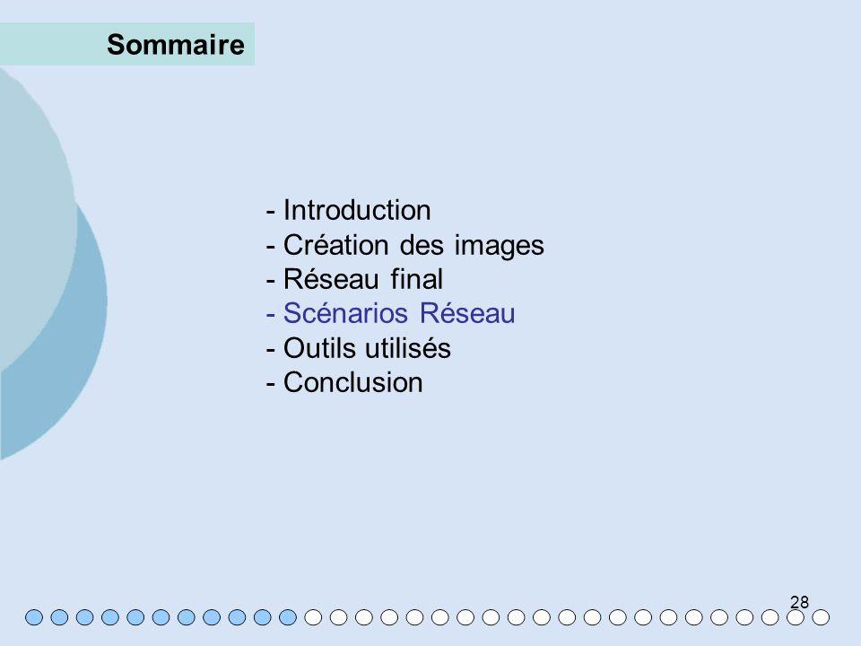 28 Sommaire - Introduction - Création des images - Réseau final - Scénarios Réseau - Outils utilisés - Conclusion
