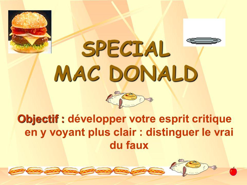 SPECIAL MAC DONALD Objectif : Objectif : développer votre esprit critique en y voyant plus clair : distinguer le vrai du faux