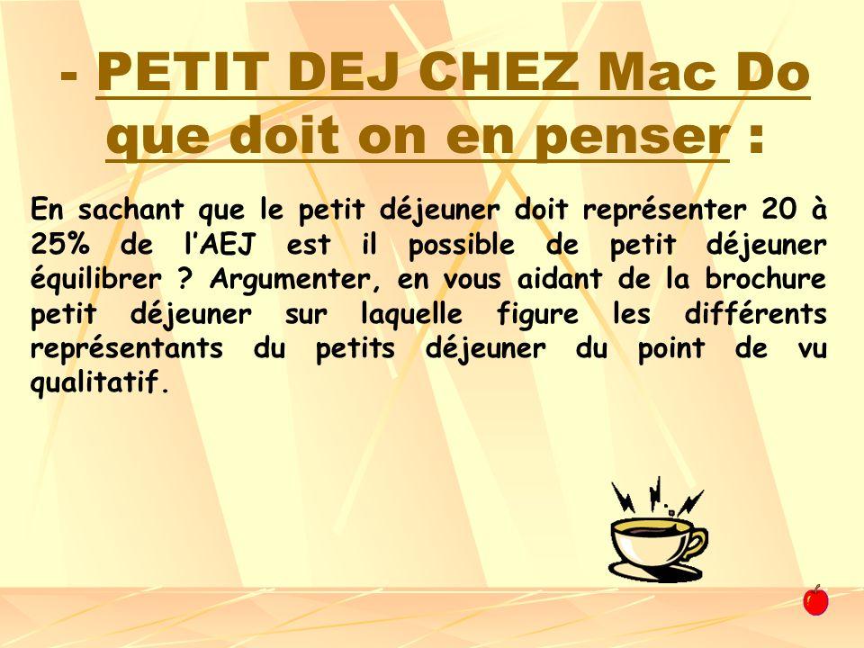 - PETIT DEJ CHEZ Mac Do que doit on en penser : En sachant que le petit déjeuner doit représenter 20 à 25% de lAEJ est il possible de petit déjeuner é