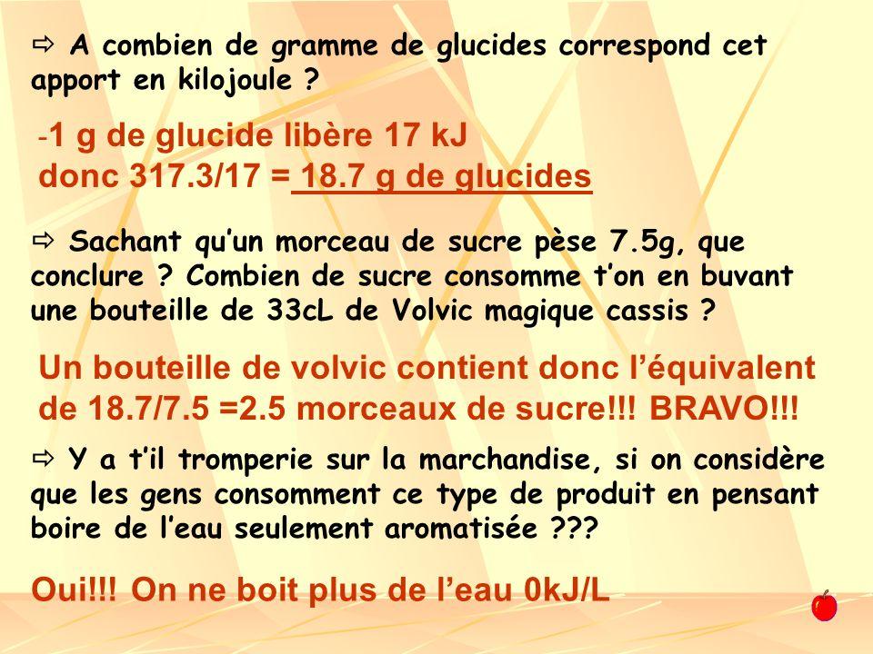 - 1 g de glucide libère 17 kJ donc 317.3/17 = 18.7 g de glucides A combien de gramme de glucides correspond cet apport en kilojoule ? Sachant quun mor