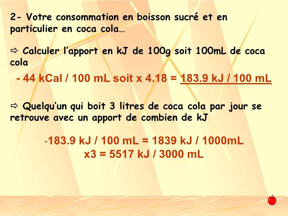 2- Votre consommation en boisson sucré et en particulier en coca cola… Calculer lapport en kJ de 100g soit 100mL de coca cola Quelquun qui boit 3 litr