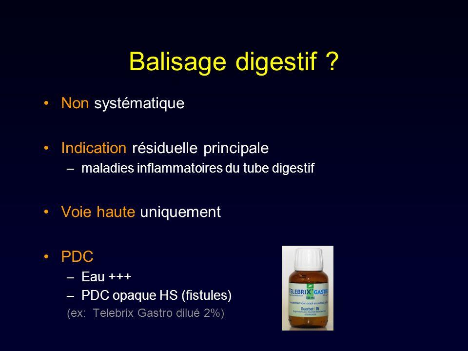 Balisage digestif ? Non systématique Indication résiduelle principale –maladies inflammatoires du tube digestif Voie haute uniquement PDC –Eau +++ –PD