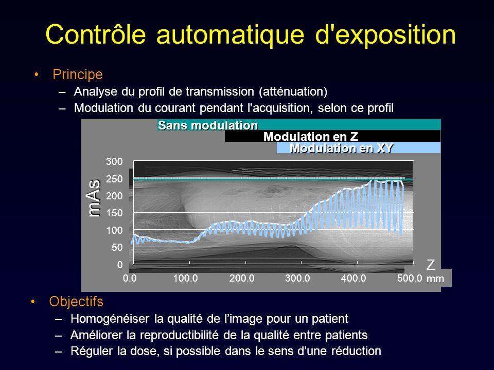 Contrôle automatique d'exposition Objectifs –Homogénéiser la qualité de limage pour un patient –Améliorer la reproductibilité de la qualité entre pati