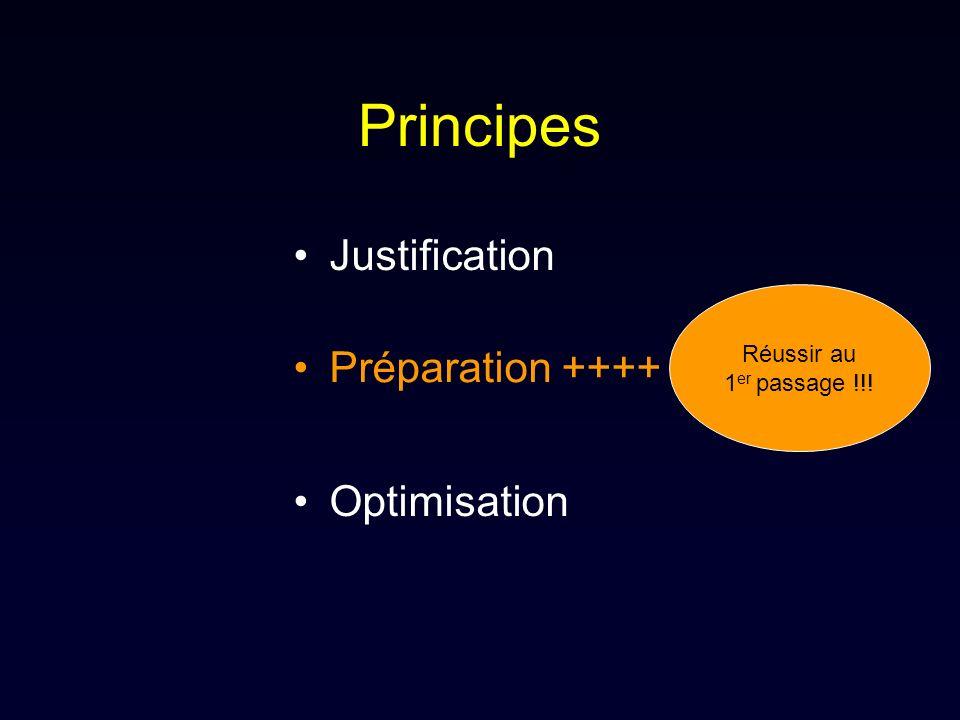 Principes Justification Optimisation Préparation ++++ Réussir au 1 er passage !!!