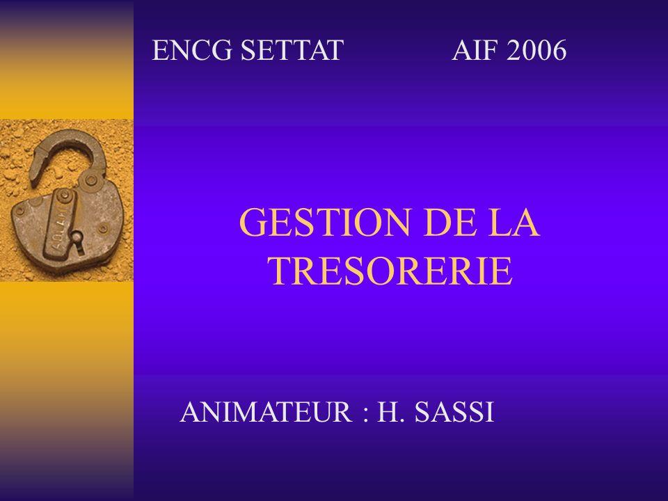 GESTION DE LA TRESORERIE ENCG SETTATAIF 2006 ANIMATEUR : H. SASSI