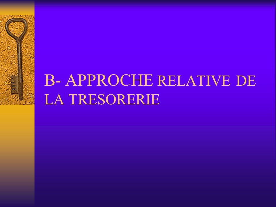 B- APPROCHE RELATIVE DE LA TRESORERIE
