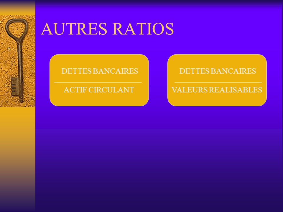 AUTRES RATIOS DETTES BANCAIRES ACTIF CIRCULANT DETTES BANCAIRES VALEURS REALISABLES