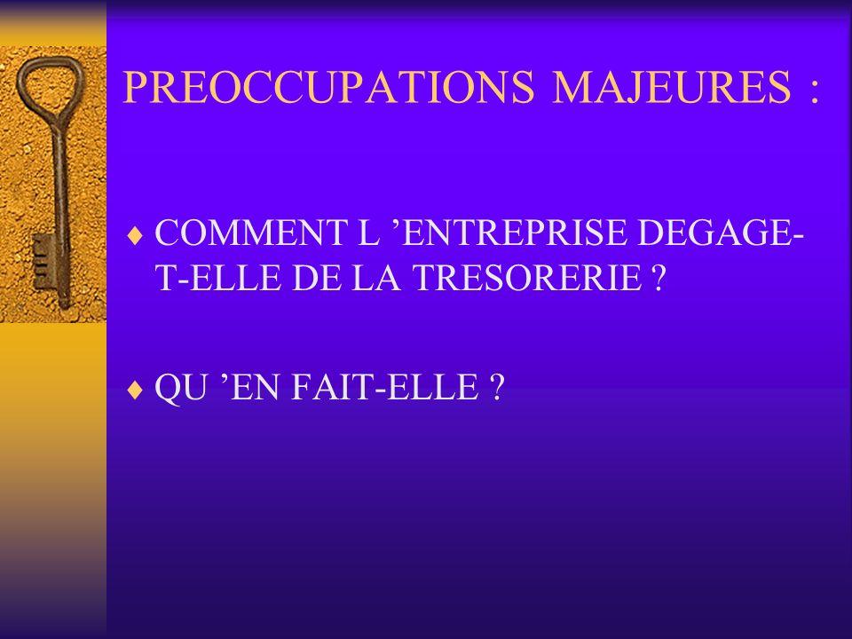PREOCCUPATIONS MAJEURES : COMMENT L ENTREPRISE DEGAGE- T-ELLE DE LA TRESORERIE ? QU EN FAIT-ELLE ?