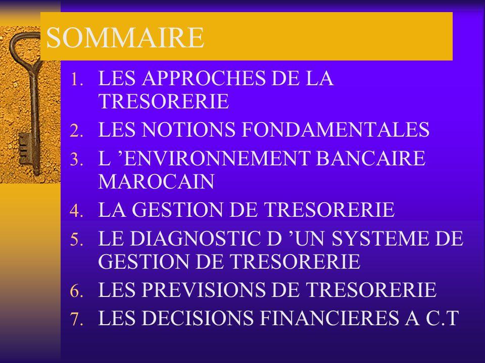 SOMMAIRE 1. LES APPROCHES DE LA TRESORERIE 2. LES NOTIONS FONDAMENTALES 3. L ENVIRONNEMENT BANCAIRE MAROCAIN 4. LA GESTION DE TRESORERIE 5. LE DIAGNOS