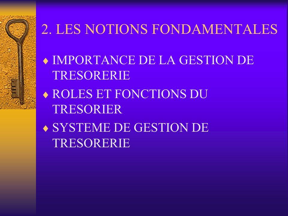 2. LES NOTIONS FONDAMENTALES IMPORTANCE DE LA GESTION DE TRESORERIE ROLES ET FONCTIONS DU TRESORIER SYSTEME DE GESTION DE TRESORERIE