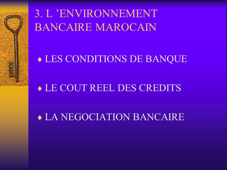 3. L ENVIRONNEMENT BANCAIRE MAROCAIN LES CONDITIONS DE BANQUE LE COUT REEL DES CREDITS LA NEGOCIATION BANCAIRE