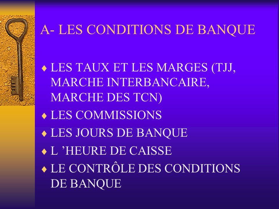 A- LES CONDITIONS DE BANQUE LES TAUX ET LES MARGES (TJJ, MARCHE INTERBANCAIRE, MARCHE DES TCN) LES COMMISSIONS LES JOURS DE BANQUE L HEURE DE CAISSE L