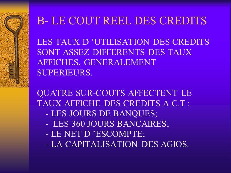 B- LE COUT REEL DES CREDITS LES TAUX D UTILISATION DES CREDITS SONT ASSEZ DIFFERENTS DES TAUX AFFICHES, GENERALEMENT SUPERIEURS. QUATRE SUR-COUTS AFFE