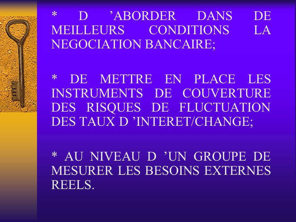* D ABORDER DANS DE MEILLEURS CONDITIONS LA NEGOCIATION BANCAIRE; * DE METTRE EN PLACE LES INSTRUMENTS DE COUVERTURE DES RISQUES DE FLUCTUATION DES TA