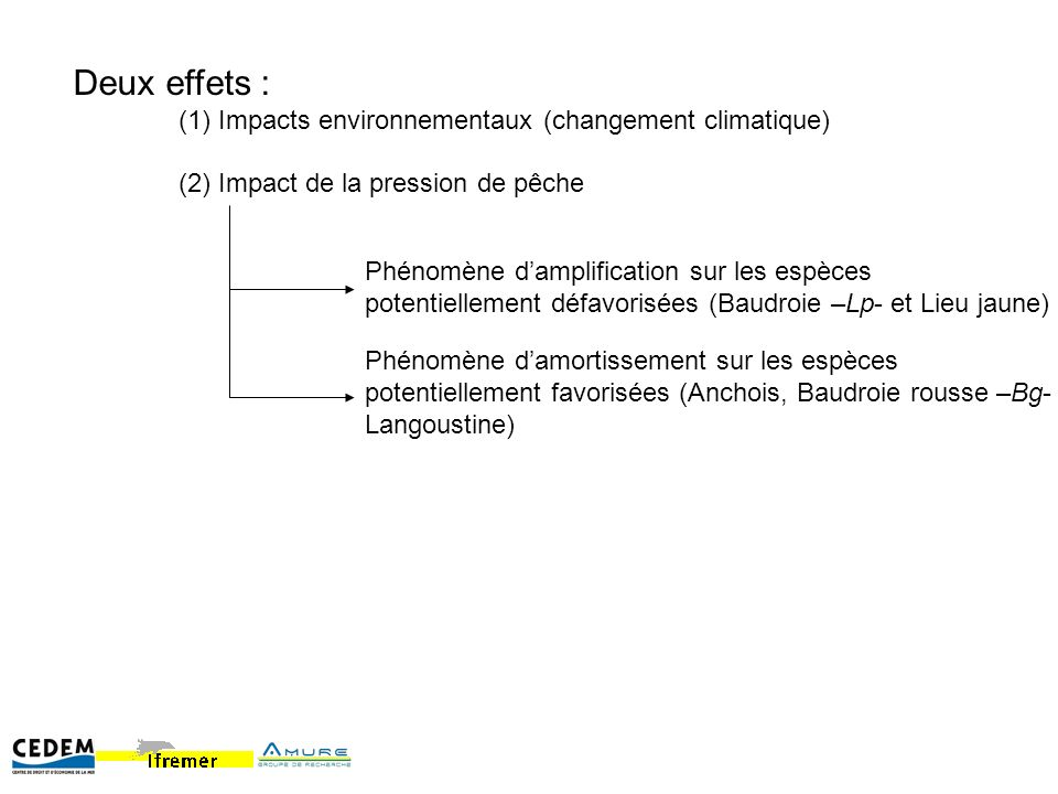 Deux effets : (1) Impacts environnementaux (changement climatique) (2) Impact de la pression de pêche Phénomène damplification sur les espèces potentiellement défavorisées (Baudroie –Lp- et Lieu jaune) Phénomène damortissement sur les espèces potentiellement favorisées (Anchois, Baudroie rousse –Bg- Langoustine)