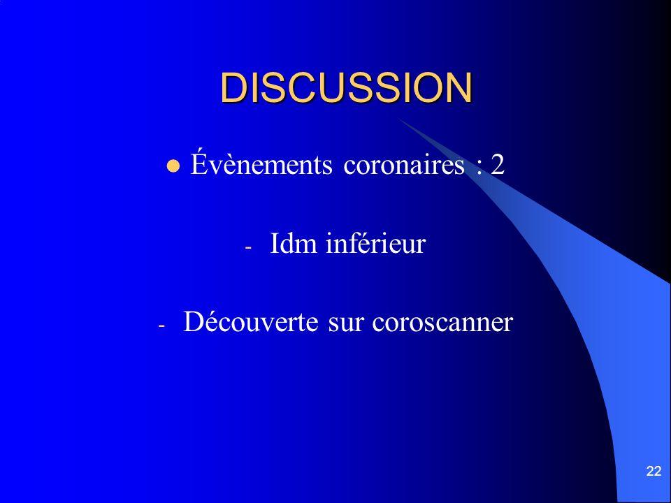 22 DISCUSSION Évènements coronaires : 2 - Idm inférieur - Découverte sur coroscanner