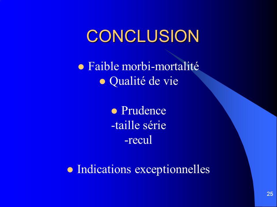 25 CONCLUSION Faible morbi-mortalité Qualité de vie Prudence -taille série -recul Indications exceptionnelles