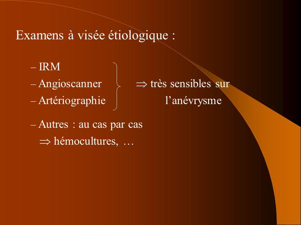 Examens à visée étiologique : – Autres : au cas par cas hémocultures, … – IRM – Angioscanner très sensibles sur – Artériographie lanévrysme