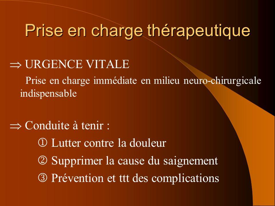 Prise en charge thérapeutique URGENCE VITALE Prise en charge immédiate en milieu neuro-chirurgicale indispensable Conduite à tenir : Lutter contre la