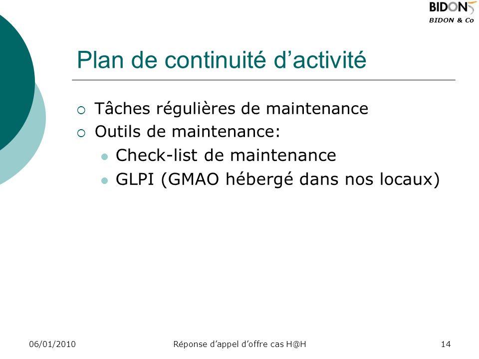 BIDON & Co 06/01/2010Réponse dappel doffre cas H@H14 Plan de continuité dactivité Tâches régulières de maintenance Outils de maintenance: Check-list d