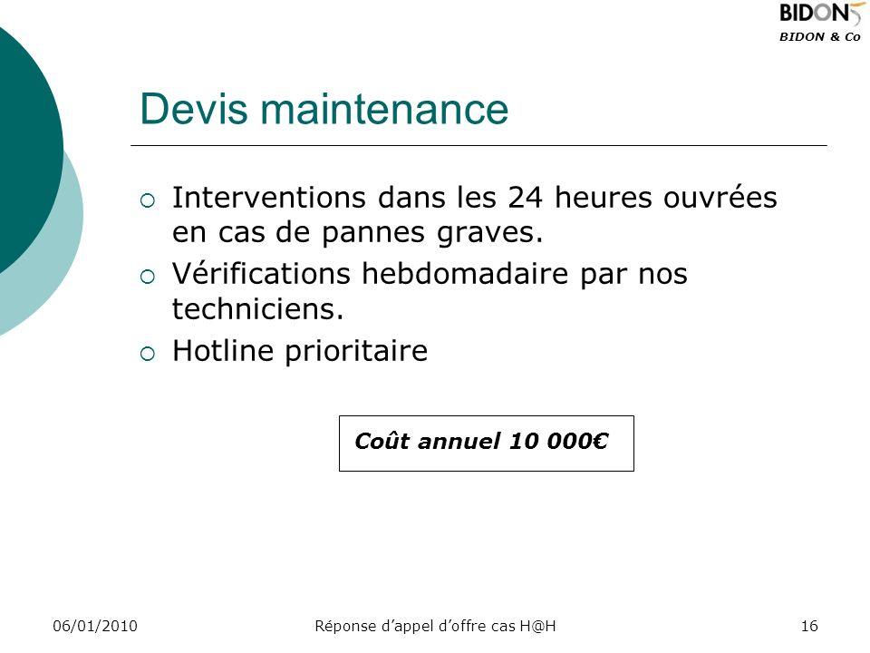 BIDON & Co 06/01/2010Réponse dappel doffre cas H@H16 Devis maintenance Interventions dans les 24 heures ouvrées en cas de pannes graves. Vérifications