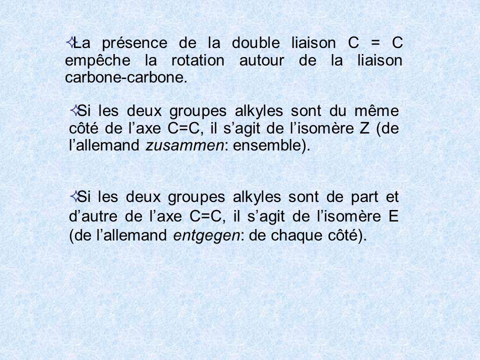La présence de la double liaison C = C empêche la rotation autour de la liaison carbone-carbone. Si les deux groupes alkyles sont du même côté de laxe