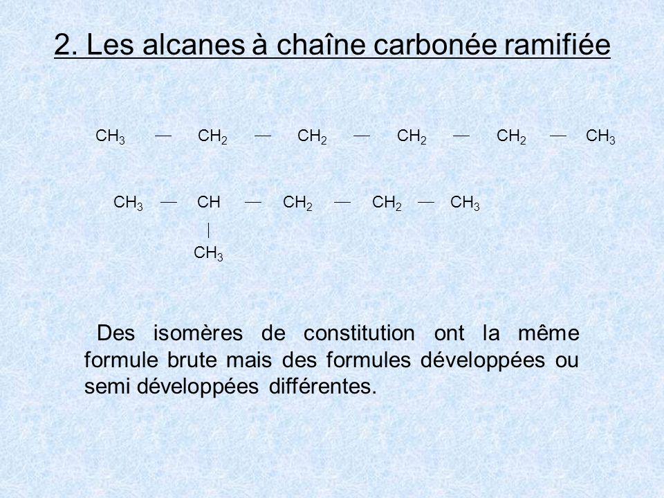2. Les alcanes à chaîne carbonée ramifiée CH 3 CH 2 CH 2 CH 2 CH 2 CH 3 CH CH 2 CH 2 CH 3 CH 3 Des isomères de constitution ont la même formule brute