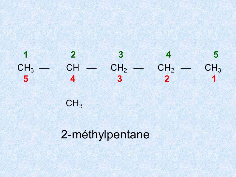CH 3 12345 CH 3 C CH CH 2 CH 3 54321 CH 3 CH 2 CH 3 3-éthyl-2,2-diméthylpentane