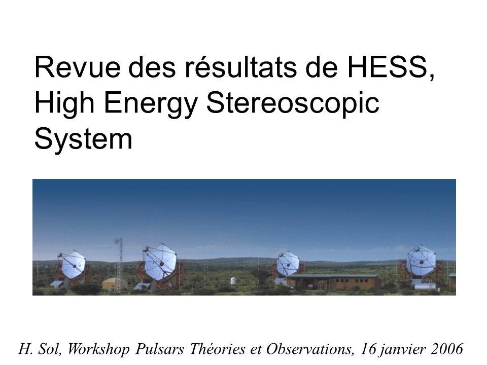 Vela junior Spectre dindice ~ 2.1, compatible avec accélération de noyaux dans onde de choc de SN Spectre dindice ~ 2.1, compatible avec accélération de noyaux dans onde de choc de SN Modèles purement leptoniques : nécessitent un faible champ magnétique Modèles purement leptoniques : nécessitent un faible champ magnétique B ~ quelques μG B ~ quelques μG scénario hadronique dinteraction de protons accélérés avec le milieu interstellaire ambiant et les nuages moléculaires : le plus probable scénario hadronique dinteraction de protons accélérés avec le milieu interstellaire ambiant et les nuages moléculaires : le plus probable Differential photon flux spectrum