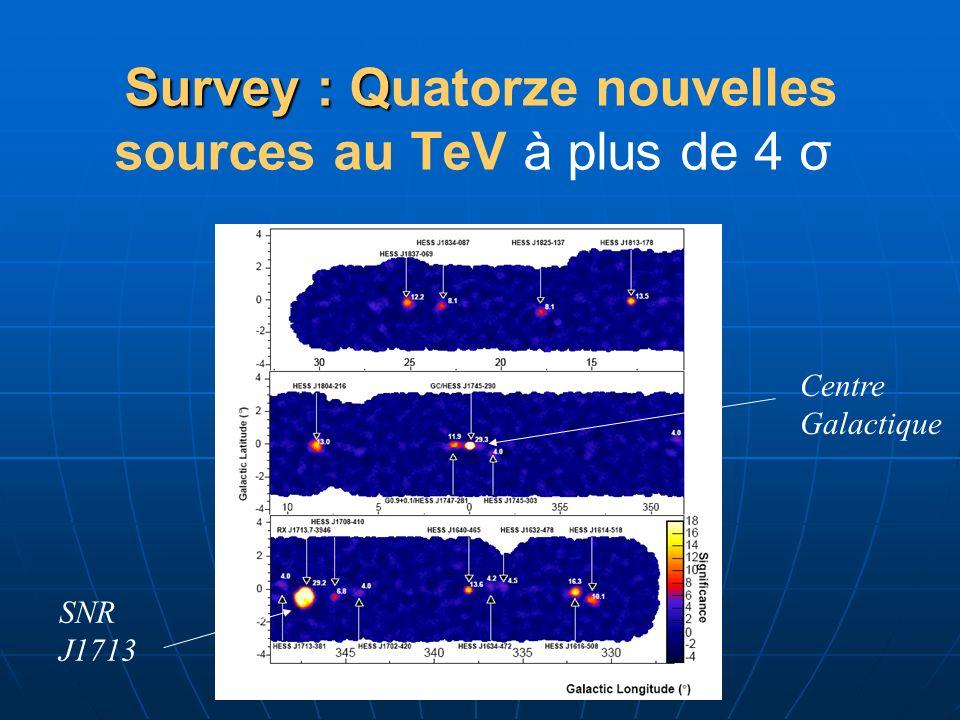 Survey : Q Survey : Quatorze nouvelles sources au TeV à plus de 4 σ SNR J1713 Centre Galactique