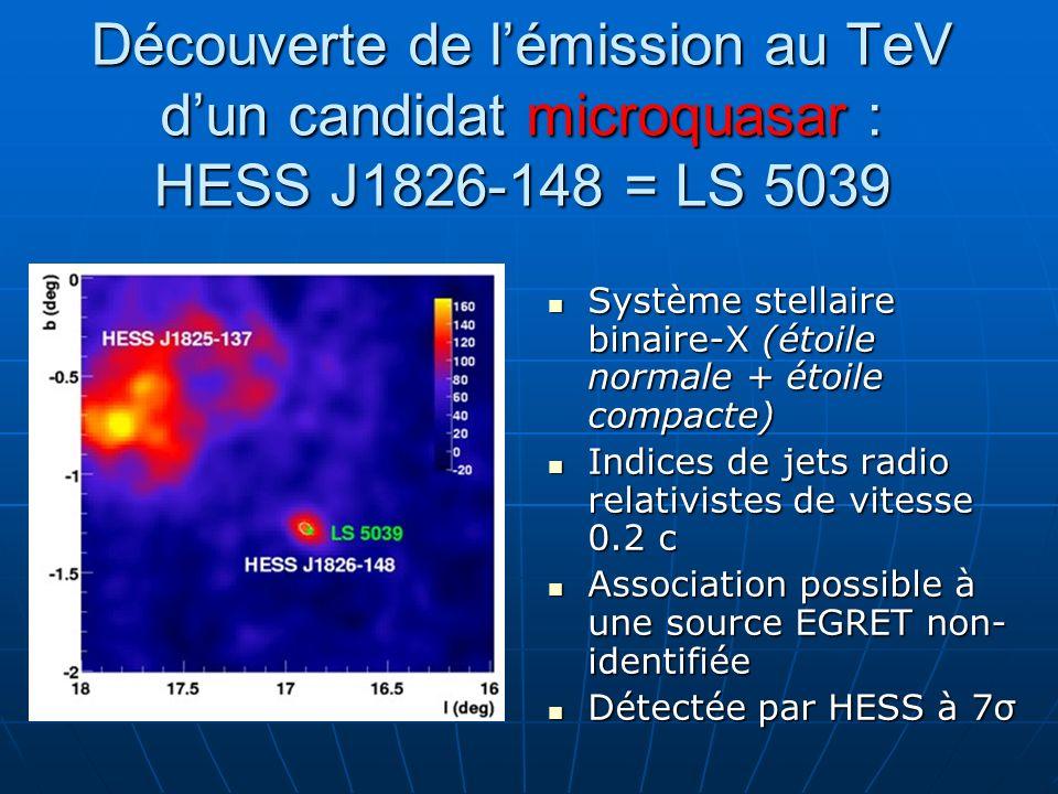 Découverte de lémission au TeV dun candidat microquasar : HESS J1826-148 = LS 5039 Système stellaire binaire-X (étoile normale + étoile compacte) Syst