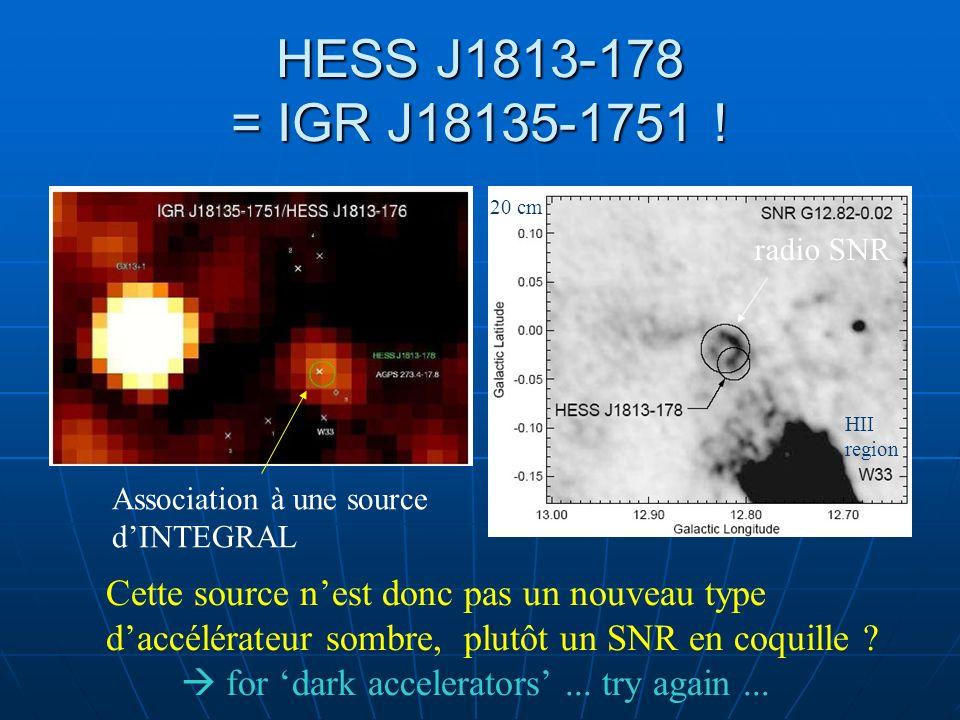 HESS J1813-178 = IGR J18135-1751 ! Association à une source dINTEGRAL radio SNR 20 cm HII region Cette source nest donc pas un nouveau type daccélérat