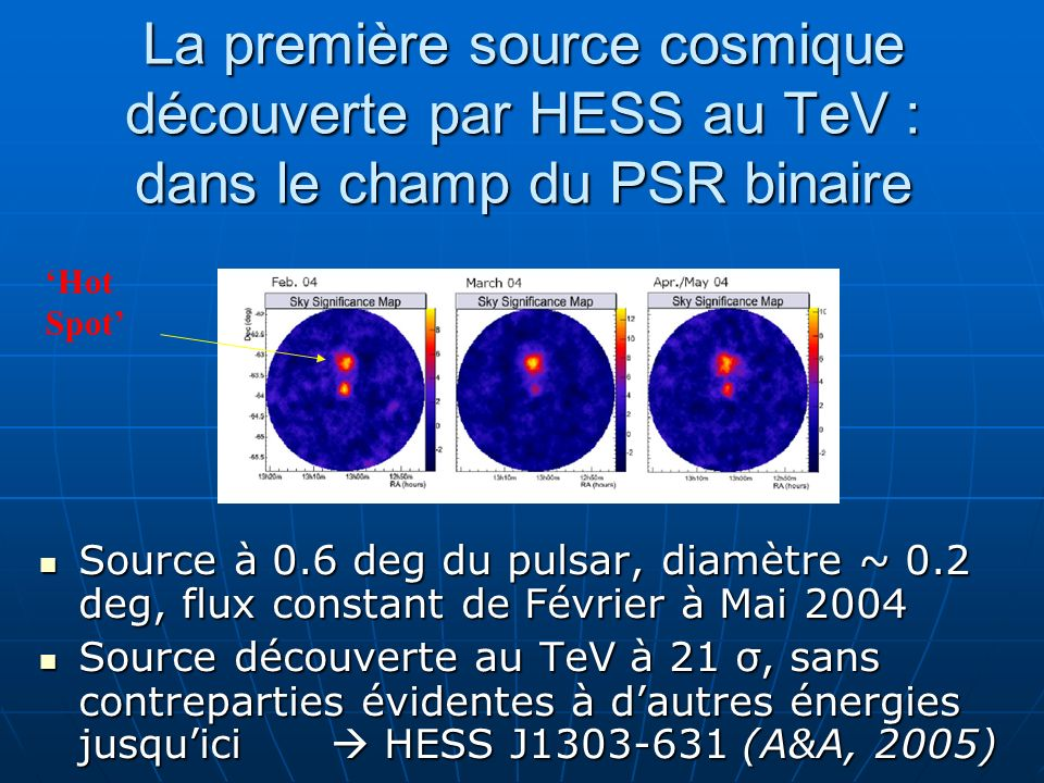La première source cosmique découverte par HESS au TeV : dans le champ du PSR binaire Source à 0.6 deg du pulsar, diamètre ~ 0.2 deg, flux constant de