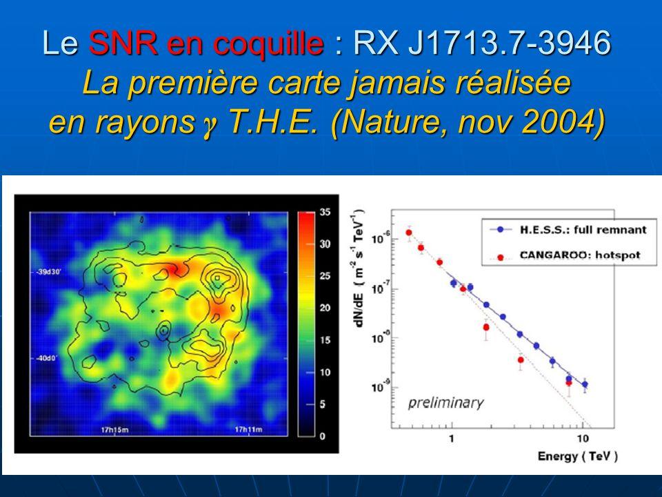 Le SNR en coquille : RX J1713.7-3946 La première carte jamais réalisée en rayons γ T.H.E. (Nature, nov 2004)