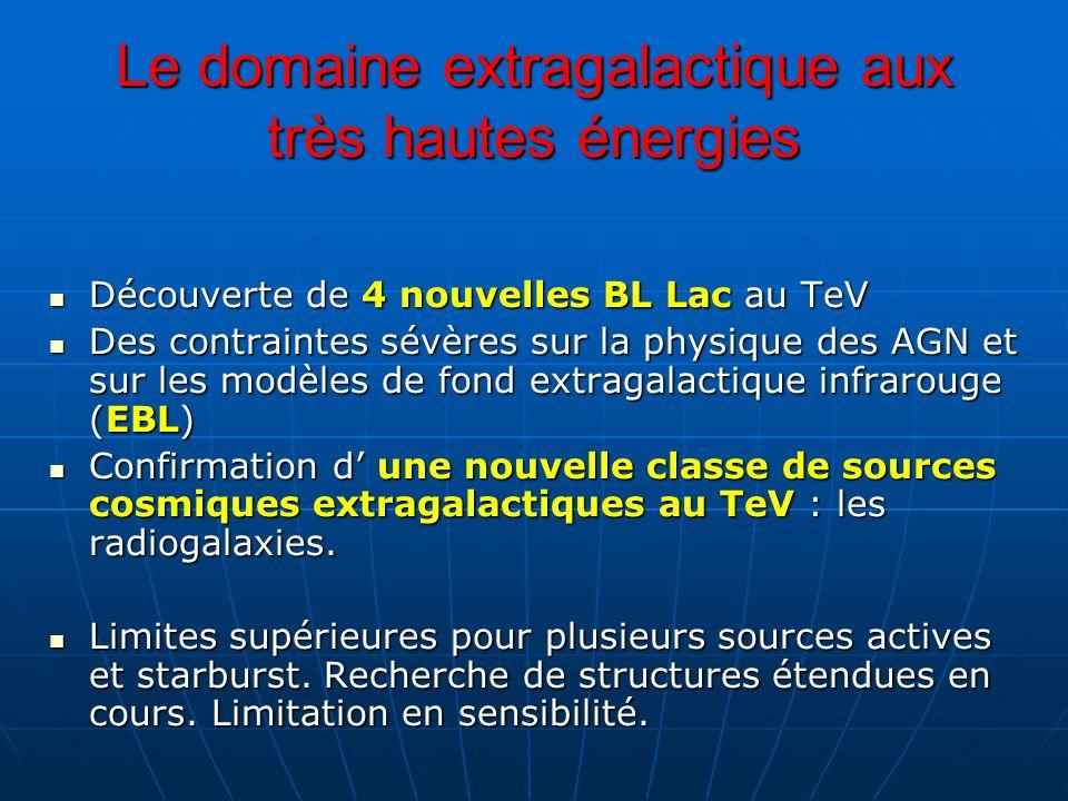 Le domaine extragalactique aux très hautes énergies Découverte de 4 nouvelles BL Lac au TeV Découverte de 4 nouvelles BL Lac au TeV Des contraintes sé