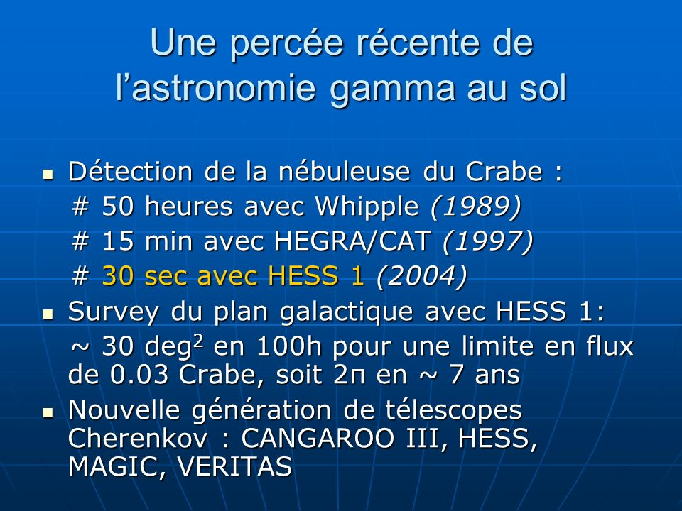 Le centre galactique Spectre dur dindice ~ 2.2 Spectre dur dindice ~ 2.2 Différent du spectre pentu obtenu par Cangaroo Différent du spectre pentu obtenu par Cangaroo Confirmé par données 2004 à 4 télescopes Confirmé par données 2004 à 4 télescopes Aucune variabilité mise en évidence en 2003-2004 Aucune variabilité mise en évidence en 2003-2004 Spectre THE (données 2003)