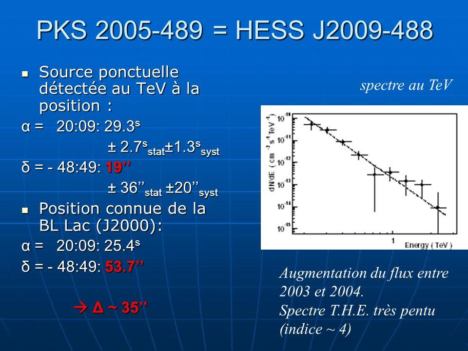 PKS 2005-489 = HESS J2009-488 Source ponctuelle détectée au TeV à la position : Source ponctuelle détectée au TeV à la position : α = 20:09: 29.3 s ±