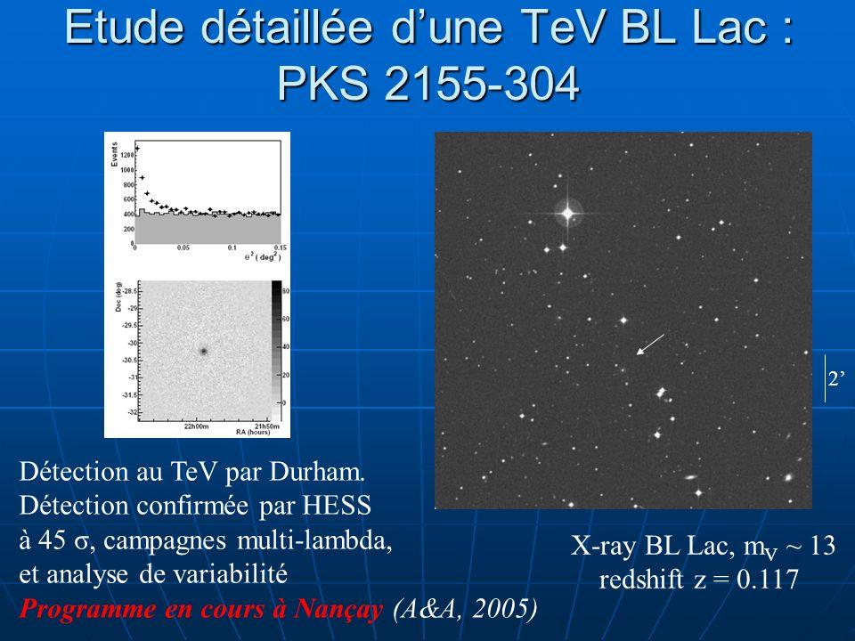 Etude détaillée dune TeV BL Lac : PKS 2155-304 Détection au TeV par Durham. Détection confirmée par HESS à 45 σ, campagnes multi-lambda, et analyse de