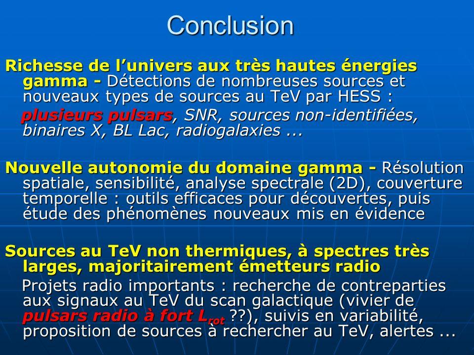 Conclusion Richesse de lunivers aux très hautes énergies gamma - Détections de nombreuses sources et nouveaux types de sources au TeV par HESS : plusi