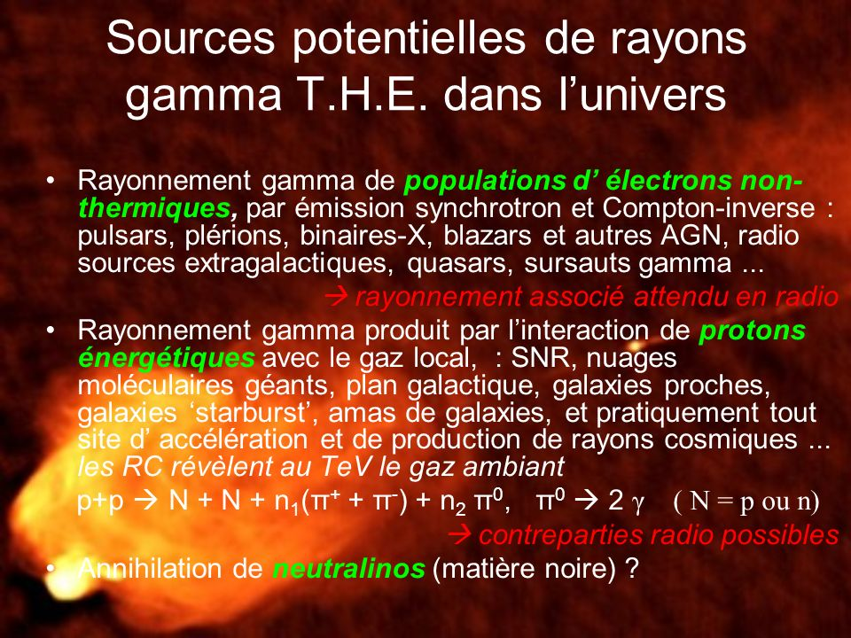 Sources potentielles de rayons gamma T.H.E. dans lunivers Rayonnement gamma de populations d électrons non- thermiques, par émission synchrotron et Co
