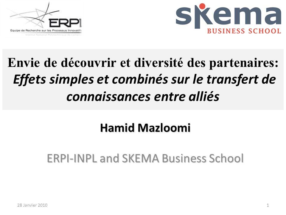 Envie de découvrir et diversité des partenaires: Effets simples et combinés sur le transfert de connaissances entre alliés Hamid Mazloomi ERPI-INPL and SKEMA Business School 28 Janvier 20101
