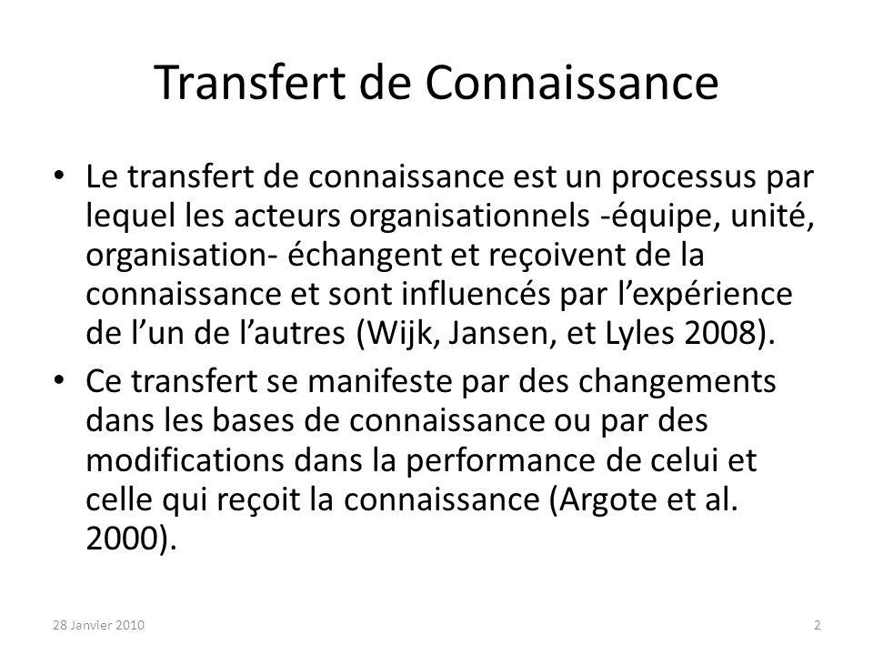 Transfert de Connaissance Le transfert de connaissance est un processus par lequel les acteurs organisationnels -équipe, unité, organisation- échangent et reçoivent de la connaissance et sont influencés par lexpérience de lun de lautres (Wijk, Jansen, et Lyles 2008).