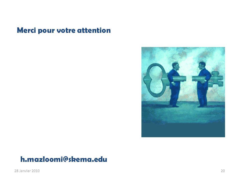 Merci pour votre attention h.mazloomi@skema.edu 28 Janvier 201020