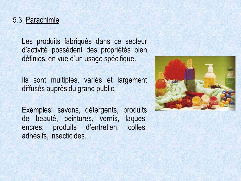 5.3. Parachimie Les produits fabriqués dans ce secteur dactivité possèdent des propriétés bien définies, en vue dun usage spécifique. Ils sont multipl