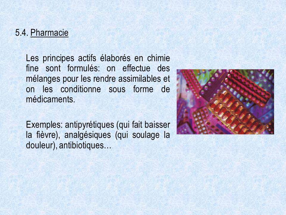 5.4. Pharmacie Les principes actifs élaborés en chimie fine sont formulés: on effectue des mélanges pour les rendre assimilables et on les conditionne