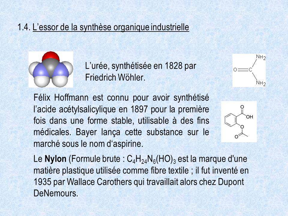 1.4. Lessor de la synthèse organique industrielle Lurée, synthétisée en 1828 par Friedrich Wöhler. Félix Hoffmann est connu pour avoir synthétisé laci