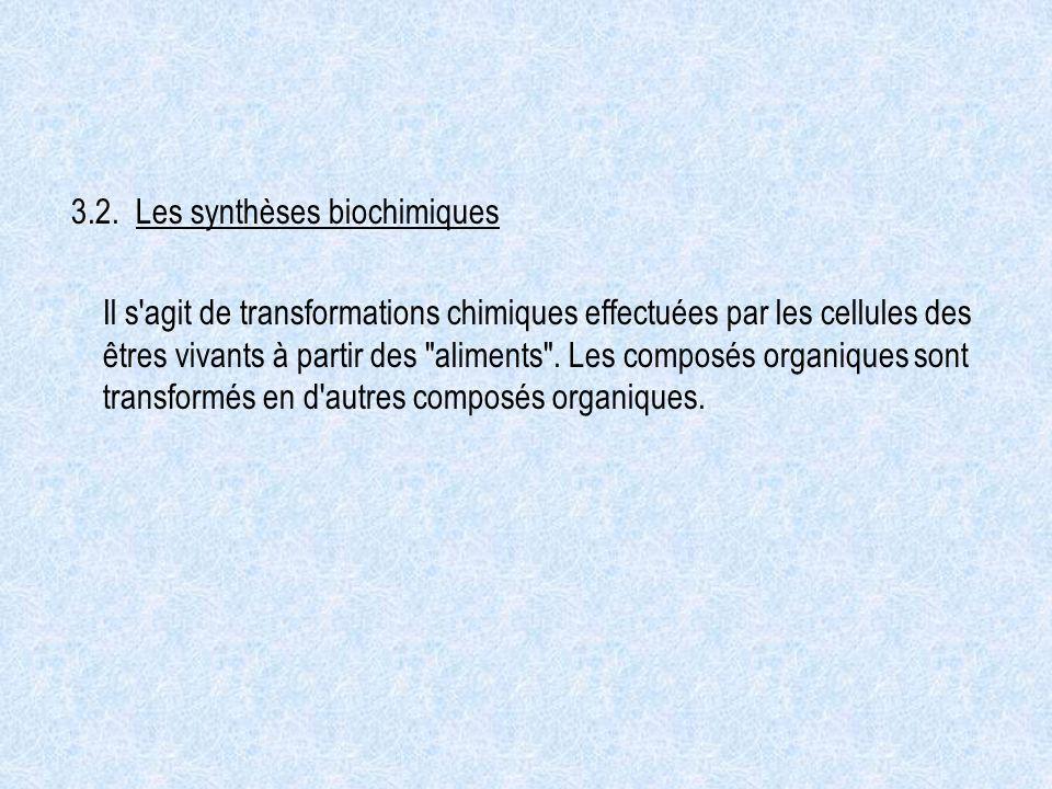 3.2. Les synthèses biochimiques Il s'agit de transformations chimiques effectuées par les cellules des êtres vivants à partir des