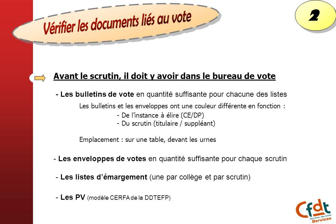 2 2 Avant le scrutin, il doit y avoir dans le bureau de vote - Les bulletins de vote en quantité suffisante pour chacune des listes - Les enveloppes d
