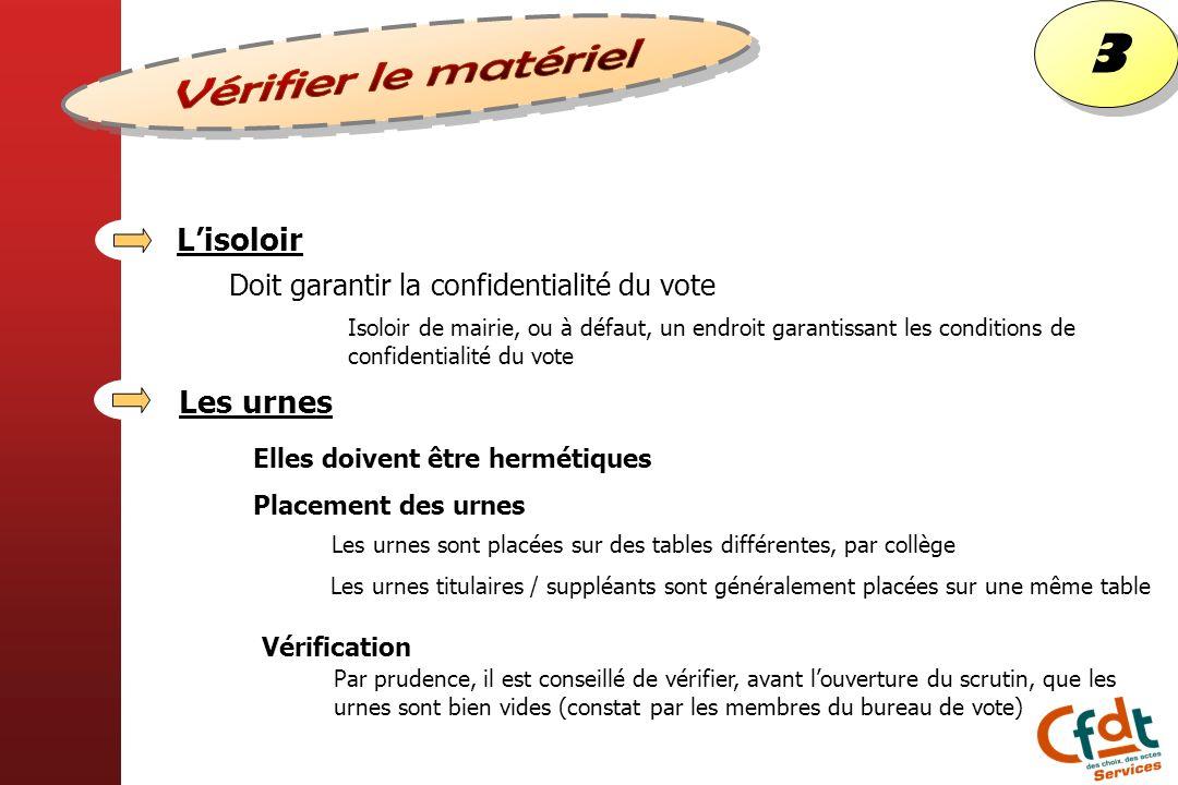 Lisoloir Doit garantir la confidentialité du vote Isoloir de mairie, ou à défaut, un endroit garantissant les conditions de confidentialité du vote Le