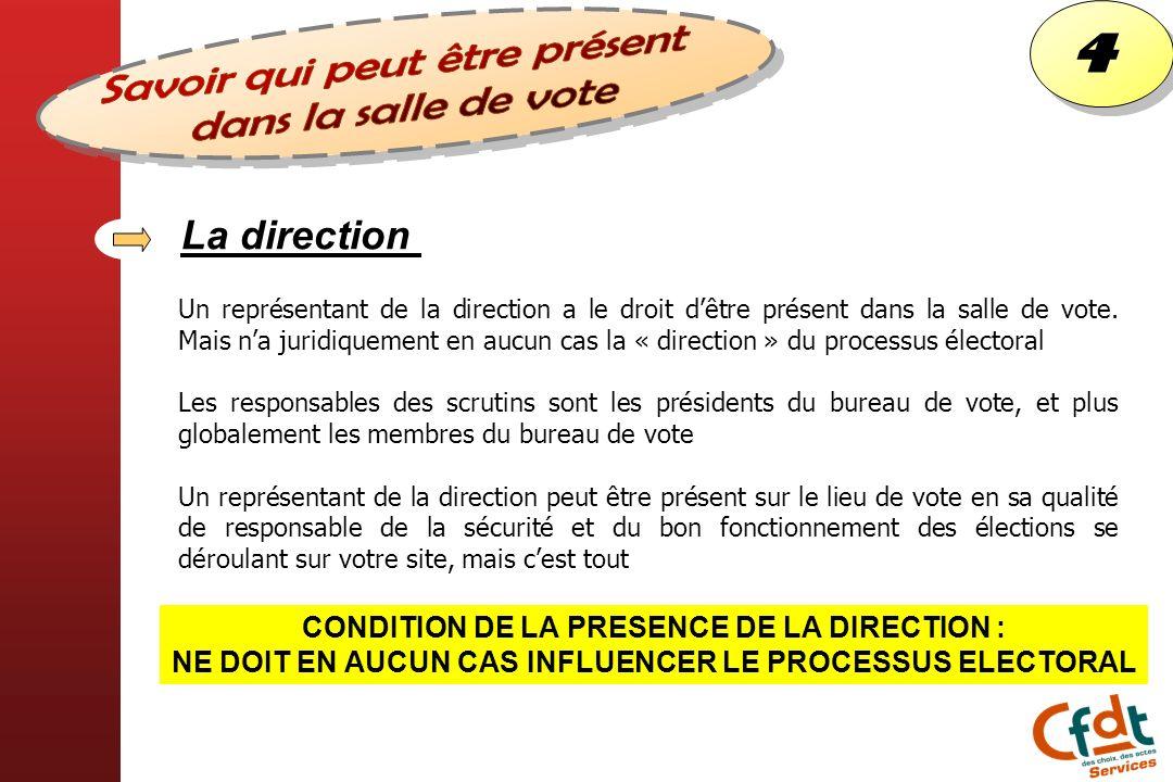 4 4 Un représentant de la direction a le droit dêtre présent dans la salle de vote. Mais na juridiquement en aucun cas la « direction » du processus é